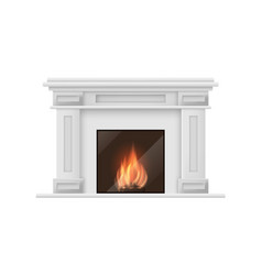 realistic detailed 3d classic fireplace vector image vector image
