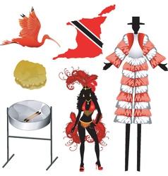 trinidad and tobago icons vector image