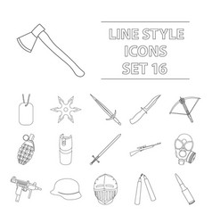 weapon set icons in outline style big collection vector image vector image