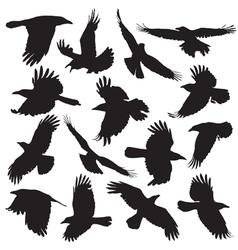 Crow silhouette set 01 vector