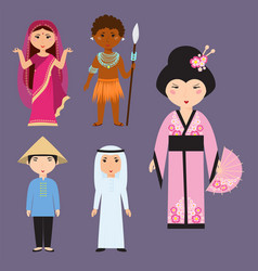 diverse avatars cartoon characters different vector image vector image