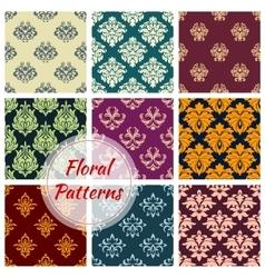 Floral ornate motif seamless patterns set vector image vector image