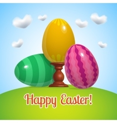 happy easter poster three blue eggs vector image vector image