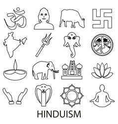 hinduism religions symbols set of outline icons vector image vector image
