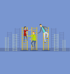 teacher on stairs banner flat style vector image vector image