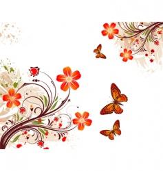 grunge flower background vector image vector image