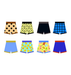 set of colored underpants shorts with a patternon vector image vector image