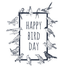 set of hand drawn birds passerine vector image