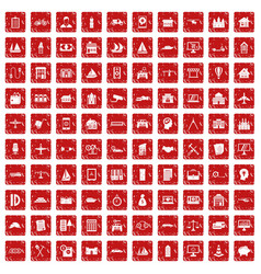 100 private property icons set grunge red vector image