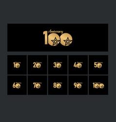 100 years anniversary celebration star gold logo vector