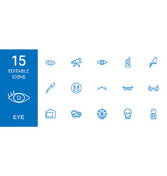15 eye icons vector