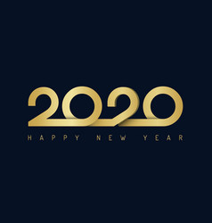 2020 ribbon lettering golden new year sign on vector image