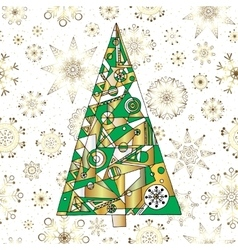 Abstract Christmas fir tree background Hand drawn vector image