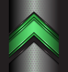 Abstract green black line arrow on hexagon mesh vector