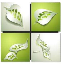 Abstract paper green leaf vector