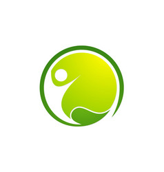 active people green leaf logo vector image