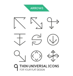 Arrow thin line icon set vector