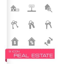 black real estate icons set vector image