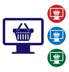 blue computer monitor with shopping basket icon vector image