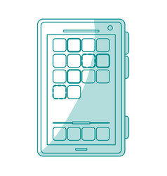 Blue silhouette shading smartphone device icon vector