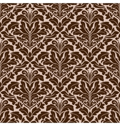 Brown and beige floral damask pattern vector
