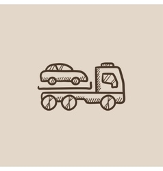 Car towing truck sketch icon vector image