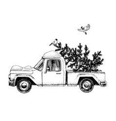 Card with truck christmas tree and bullfinches vector