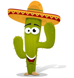Cartoon mexican cactus character vector