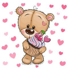cartoon teddy bear with cupcake on a hearts vector image