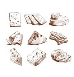 Cheese sketch collection vector