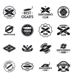 Cigar logo set simple style vector