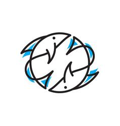 circle fish logo vector image