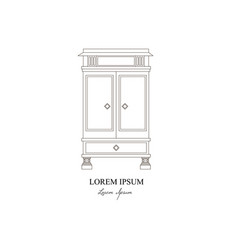 Classical wardrobe made in line style colorful vector