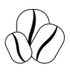 Coffee beans set silhouette dotted monochrome on vector
