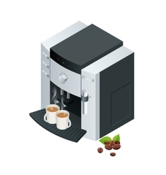 Coffee machine makes two coffee with coffee beans vector