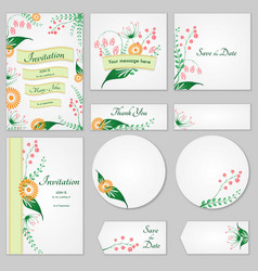 Collection greeting cards with stylized wild vector