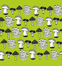 Collection of mushrooms seamless pattern vector