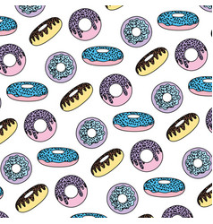 color tasty donuts desserts pastry background vector image