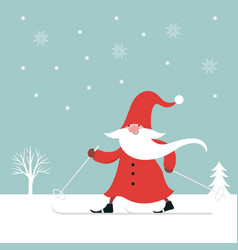 cute gnome ski christmas greeting card vector image