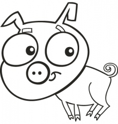 cute piggy for coloring book vector image
