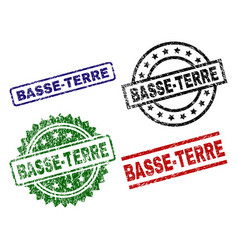 Damaged textured basse-terre seal stamps vector