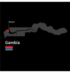 Detailed map of Gambia and capital city Banjul vector