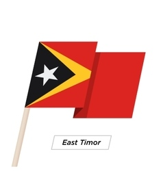 East Timor Ribbon Waving Flag Isolated on White vector image