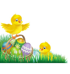 Easter chicks and egg basket vector