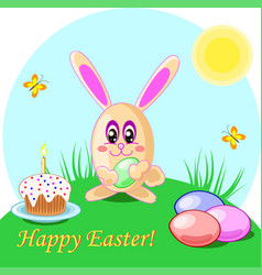 Easter rabbit eggs and cake vector
