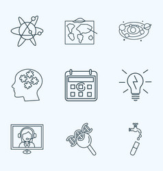Education icons line style set with logic biology vector