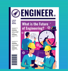engineer magazine cover vector image