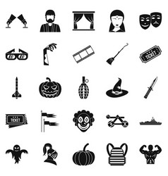 filmmaker icons set simple style vector image