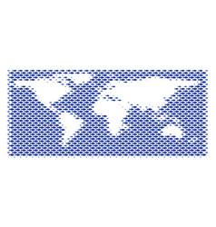 Fish world ocean map mosaic vector