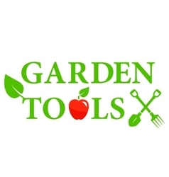 garden tools icon with red apple vector image